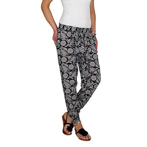 DB Leichte Damen Baumwoll Sommerhose in 9 verschiedenen dekorativen Designs M 07