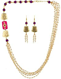 AccessHer Purple And White Beads Pearls Necklace Set For Women