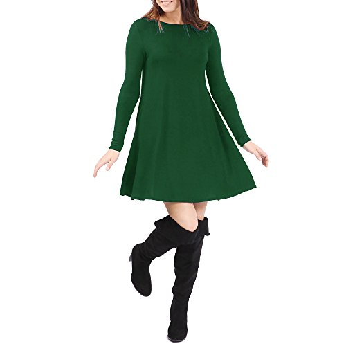 SCO Nuovo Donna Tinta Unita Swing da donna a campana Elasticizzato Top Tunica Plus Size Bottle Green 42
