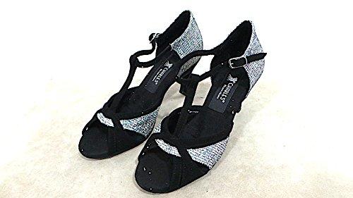 Charles dance shoes Scarpe da Ballo Donna Camoscio Tac.70 COD.469 Col.Lady neroargento madeinitaly Vedi Foto