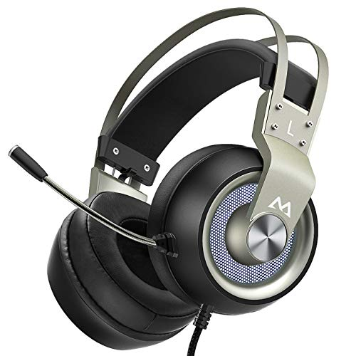 Mpow Gaming Headset with 50mm Drivers, Stereo Surround Sound Gaming Headset  with Noise Cancelling Mic & In-Line Control, Over-Ear Soft Memory Earmuff,