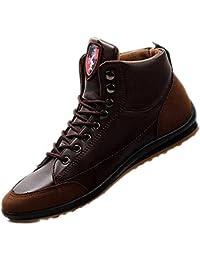 TOOGOO (R) Uomo Casual Inverno Scarpe Alte Calde In Velluto Stivali impermeabili Sneakers Marrone scuro?��US 9.5/UK 9/EUR