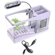 Gosear Escritorio Mini acuario pecera w/USB LCD reloj reloj LED lámpara luz blanca