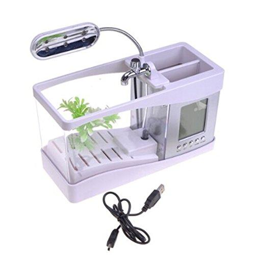 Gosear Escritorio Mini acuario pecera w/USB LCD reloj