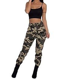 Tenadance Pantalons à Pince Camouflage Femme Taille Haute élastique au Bas  Poches Plaquées à Rabat aux 7d763dae1c8