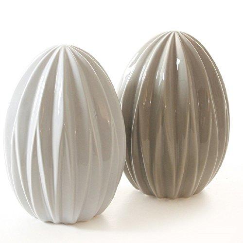 gshaftes Oster-Deko Ei stehend Deko-Ei Keramik in 2 Farben Preis für 2 Stück (Stehend Ei)