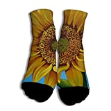 NOOU Neutral Freizeit Modische Männer und Frauen Socken für Studenten Blue Bottom Sunflower White