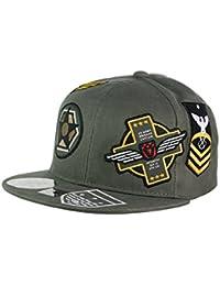 NYFASHION101 Casquette Snapback ajustable à emblèmes militaires brodés et visière droite