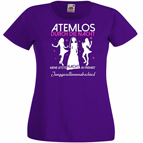 Damen T-Shirt für den Junggesellenabschied mit Motiv Atemlos - MEINE letzte Nacht in Freiheit (Frauen/Braut) in purple, Größe XL