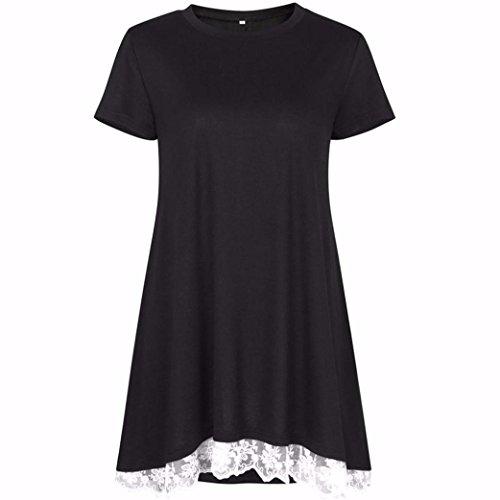 Familizo T-shirt à Manches Courtes, Femmes Hauts à Manches Courtes ❤️Noir
