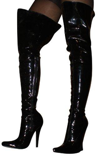 e5f6bd0bbca4d5 ... EROGANCE Lack High Heels Stiefel Overkneestiefel schwarz EU 37 - 46    A2526A Black ...