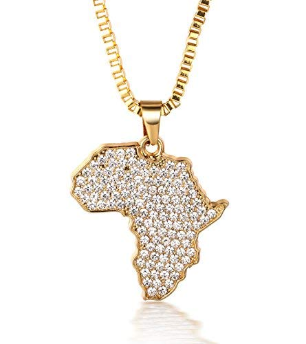 Halukakah ● Afrika ● Männlich 18k Echt Vergoldet Afrika-Karte Anhänger Künstliche Diamanten Gesetzt Halskette mit Kostenloser Kasten Kette 30