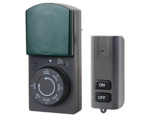 Electraline 58110Timer Zeitschaltuhr für Außen IP44Countdown-Funktion mit Sensor und Fernbedienung, Schwarz/Grün