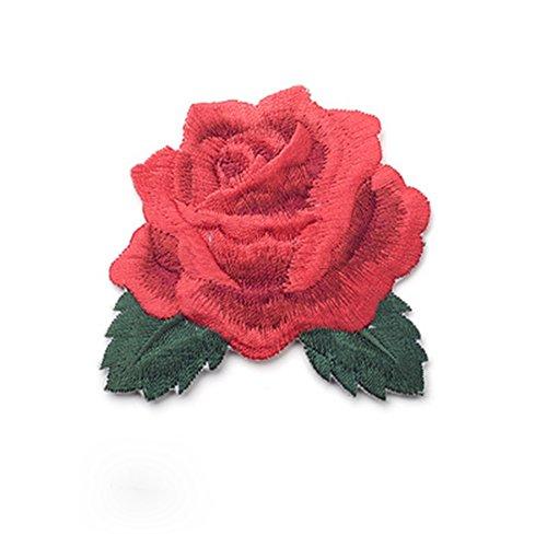 LAMEIDA bestickt Patch Stoff Bügelbild zum Aufbügeln oder Aufnähen Patches Lovely Rose Blumen Abzeichen Aufnäher Patches für Kleidung, Jacken, Rucksäcke, Jeans, Baseball Cap, Textil, rot, 6.5 * 6cm -