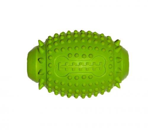 Bubimex Dental Toy Rugbyball mit Quitscher aus Naturgummi- 11 cm