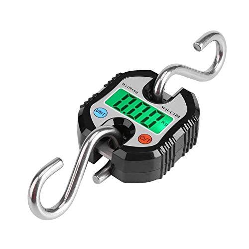 Pèse Bagage Valise avec 2 Crochets Acier INOX Numérique Grue Portable LCD Électronique Échelles Suspendues Pesant Équilibre pour Maison Ferme Usine Chasse 150 Kg(Noir)