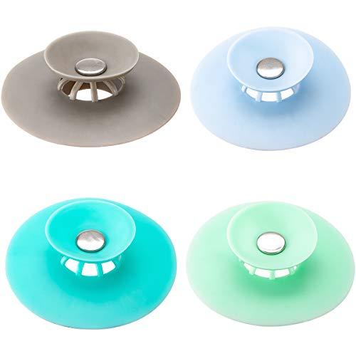 PAMASE 4 Stück Abflussstopfen, Waschbeckenstöpsel,Badewannenstöpsel, Abflusssieb, Abfluss Stöpsel für Badewanne, Bodenabläufe, Küchenspülen, Haarsieb (2 in 1, 4 Farben)