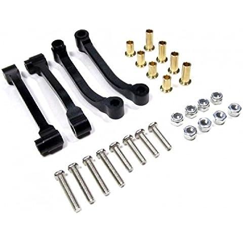 Tamiya 1/14 Truck Aggiornamento Parti Aluminium Radius Arm With Collars & Lock Nuts & Screws (For King Hauler /Globe Liner /Ford Aeromax /Scania R620) - 2Prs Set Black