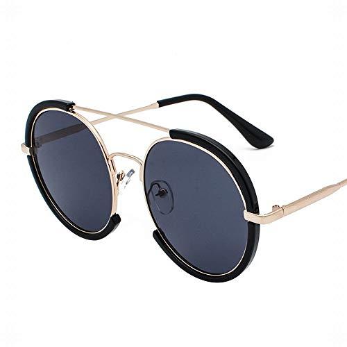 WULE-RYP Polarisierte Sonnenbrille mit UV-Schutz Vintage UV Protection Große Runde Sonnenbrille für Damen und Herren. Superleichtes Rahmen-Fischen, das Golf fährt (Farbe : Black Gray)