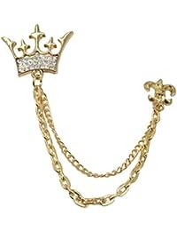 5671a5ab3ba Sullery King Crown Metal Brooch Pin Men Women Chain Crystal Rhinestone Tassel  Brooch for Men Women