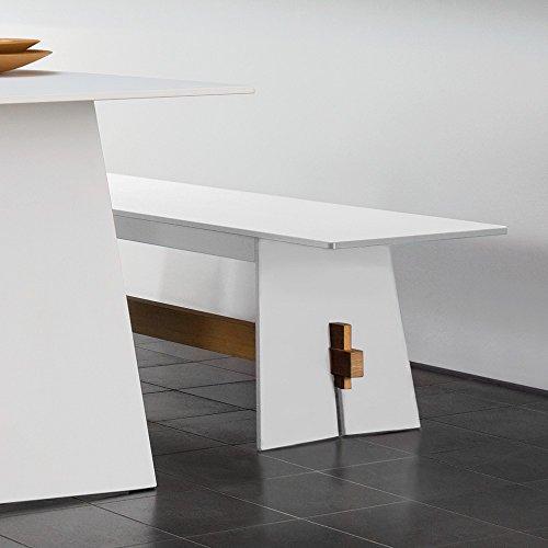 Conmoto Tension – Bank 42 x 220 x 45 cm HPL weiss – Traverse aus Teak – ohne Auflage – Outdoorbank – Gartenbank - 3