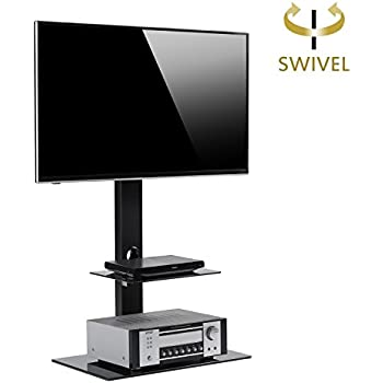 Fitueyes Universal Cantilever Glass TV Stand with Amazon