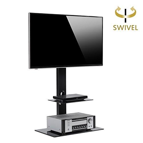 RFIVER TV Fernseher Ständer Stand Fernsehtisch Standfuss Glas Standfuß Halterung Höhenverstellbar Fernsehstand LED Flachbildschirm Rack Tischständer für 32-65 Zoll