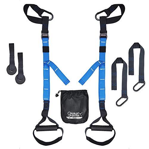 PROTONE Suspensión Correa Entrenamiento Sistema - Peso Corporal Fuerza y Zapatillas Fitness - Gimnasio en Casa - Fitness (Azul) - Nuevo Modelo, Azul