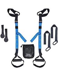 PROTONE® Suspensión Correa Entrenamiento Sistema - Peso Corporal Fuerza y Zapatillas Fitness - Gimnasio en Casa - Fitness (Azul) - Nuevo Modelo, Azul