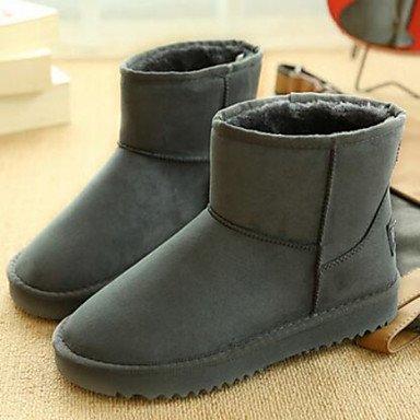 Le confort des bottes en daim marron décontracté PU Printemps plats gris Gray