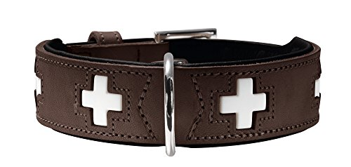 HUNTER Swiss Halsband für Hunde, Leder, hochwertig, schweizer Kreuz, 55, braun/schwarz