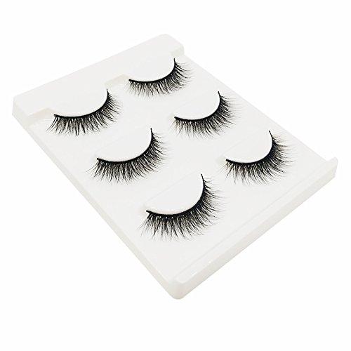TOOGOO Faux cils 3 paires 3D naturel touffu croix vison cheveux oeil fouet noir