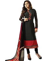 Stylish Fashion Black Embroidered Women's Crepe Straight Salwar Suit
