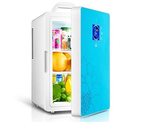 SHISHANG Réfrigérateur de voiture/16L Dual-Core Mini Réfrigérateur Réfrigéré/Réfrigérateur Portable Maison, 220V/12V, avec Écran, Noir/Bleu, Blue