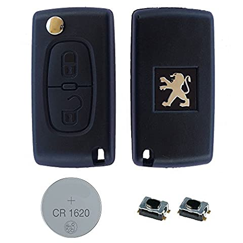 Peugeot DIY Repair Kit - Replacement 2 Button Remote Car Key Fob Case with Flip Blade HU83, Micro Switches and CR1620 Battery for 107 207 208 307 308 407 408 607 807 3008 5008 Expert Keys and Fobs for Peugeot Cars and