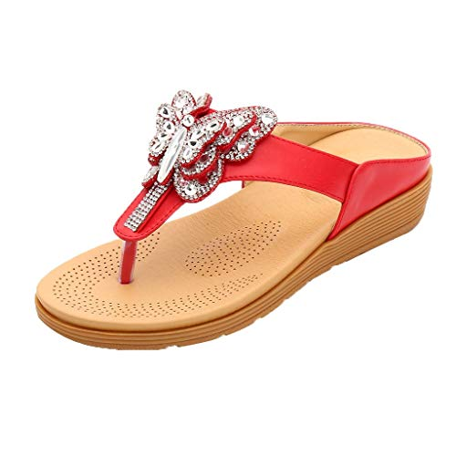 CUTUDE Frauen Strass Schmetterling Dick-Bottomed Flip-Flops Schuhe Bohemian Casual Schuhe Übergröße Sommerschuhe Strandschuhe Pantoletten (Rot, 35)