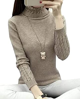 cfzsyyw Women's Cable Knit Long Sleeves High Neck Pullover Sweaters Top