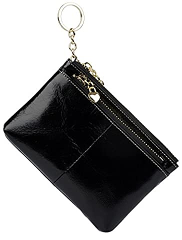 Yaluxe Women's Luxury Wax Leather Card Holder Triple Zipper Coin Wallet with Key Ring (Gift Box) Black