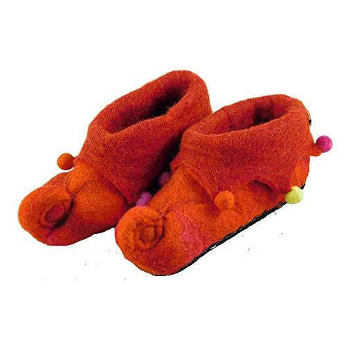 musimon Hausschuhe Filzschuhe 100% Wolle (30 EU, rot)
