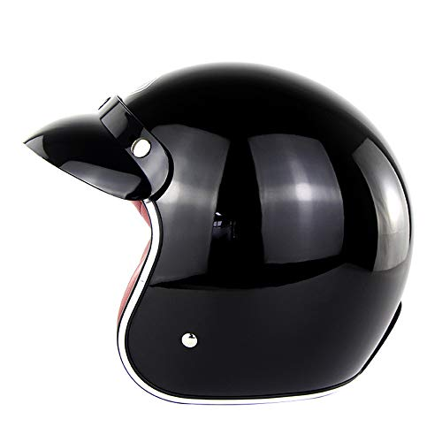 Wansheng Vintage Harley Open Face Half Helmet, Casco Jet D.O.T Certificado Motocicleta Scooter Casco Piloto Casco De Moto (S, M, L, XL, XXL),C,S(55~56Cm)
