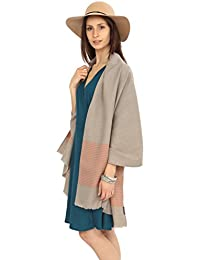 Twill Handwoven Merino Pashmina and Oversize Scarf in Latte and Stripes