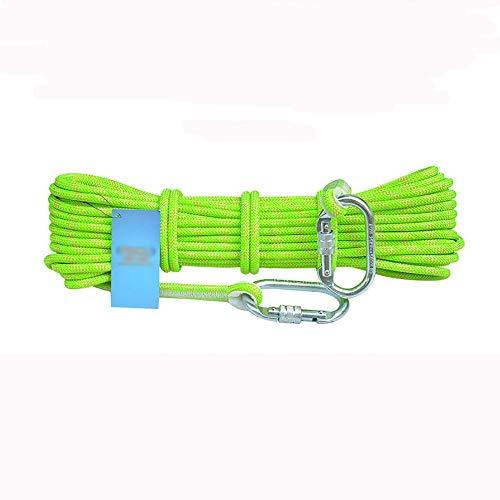 TnSok Outdoor-Kletterseil Felsen Seil Sicherungsseil tragen beständige und dauerhafte 8MM 10.5mm Kletterseil mit Karabiner (grün) für Wandern Caving Camping Rettung Exploration