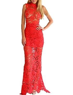 0945fa49666d mywy - Abito lungo vestito pizzo nero donna elegante sera maxi abito rosso  cerimonia