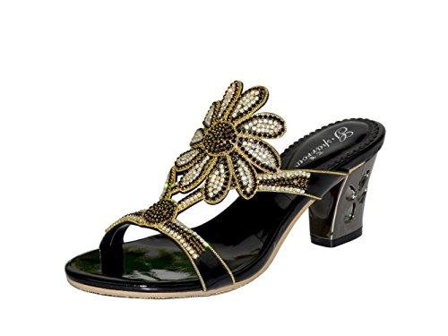 unicoratha Femme à Enfiler Mules Bloc Talon Strass Soirée Chaussures Sandales Noir