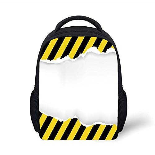 Kids School Backpack Construction,Ripped Paper with Construction Sign Safety Warning Alert Framework Decorative,Yellow Black White Plain Bookbag Travel Daypack -