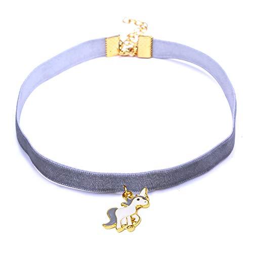 Scrox 1pcs Colgantes Mujer Plata Moda Choker Collares Unicornio Niña Joyas para Mujer Ribbon Collar Corto Exquisito Regalos Originales (Gris)