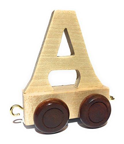 Buchstabenzug | Wunschname zusammenstellen | Holzeisenbahn | EbyReo® Namenszug aus Holz | personalisierbar | auch als Geschenk Set ( Buchstabenzug A )