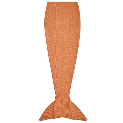 Queue De Sirène Fait À La Main Crocheté Cocoon Divan Plage Couette Rug Maille Lapghan Couverture - Orange, Taille Unique