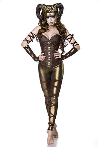 Kostüm Comic Mystique - Fasching-Kostüm `Woodland Faun` by MASK PARADISE - Corsage mit Ornamentenmuster - Set: Corsage, Leggings, Hörner, Armstulpen - A80078, Größe:38;Farbe:braun