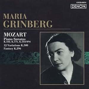 MOZART: SONATA NO.12/12 VARIATIONS K.500 by MARIA GRINBERG